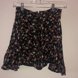 Zip up Black flower print circle skirt